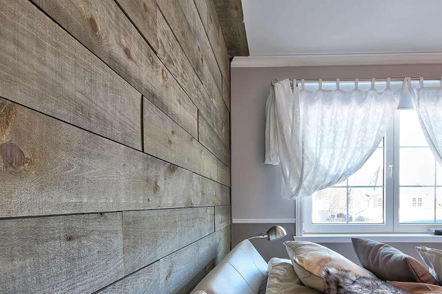 Chambre avec mur de bois modèle Silver