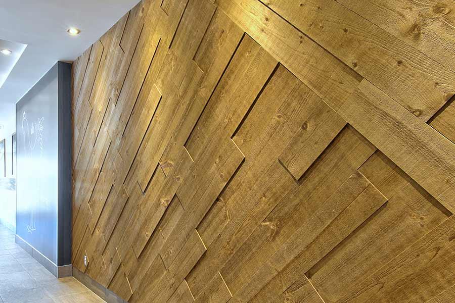 Restaurant. Mur de bois Impex Copper